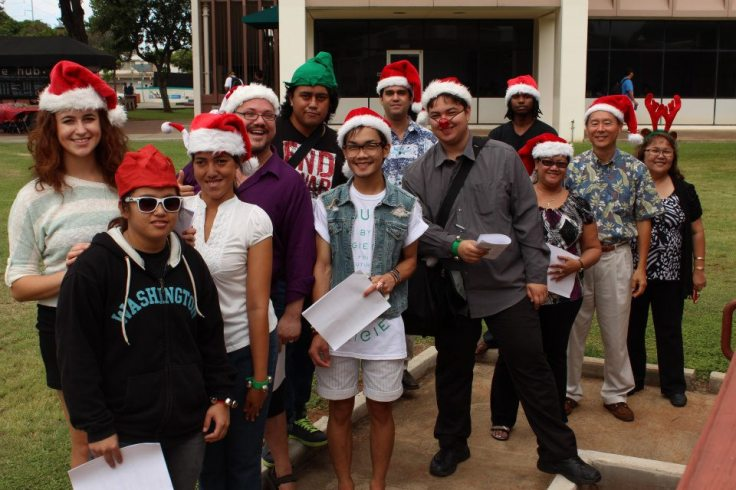 2012-2013 ASUH-HCC Student Government, Faculty, and Staff sing Christmas carols last December.