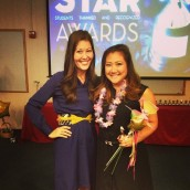 Jennifer (right) receiving a HonoluluCC's STAR Awards.
