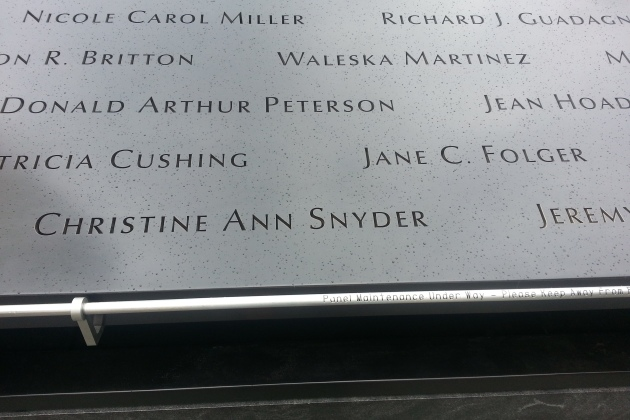 Snyder's name can be found on the Memorial Wall at the 9/11 Memorial site (aka Ground Zero).  Photo Credit: J.Wong