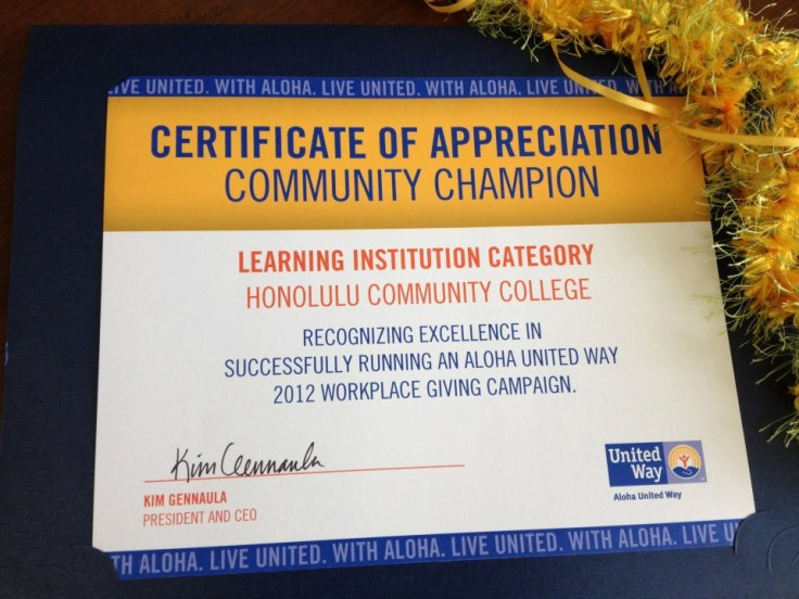 HonoluluCC was honored to be recognized for the second year in a row as a community champion in the Learning Institution Category for our campus's faculty and staff giving campaign. Mahalo to our campus 'ohana for giving so generously to help those in our community.