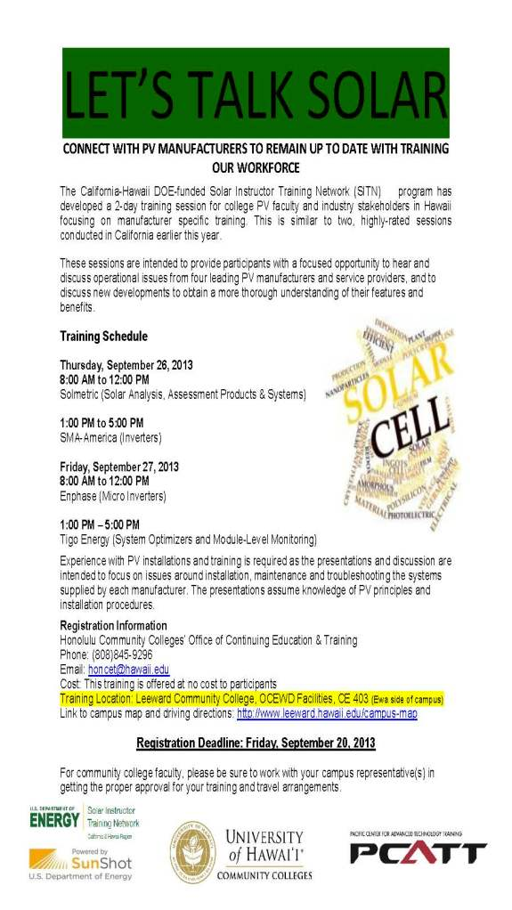 Flyer for PV Manufacturer training SITN Sept 26 and 27, 2013