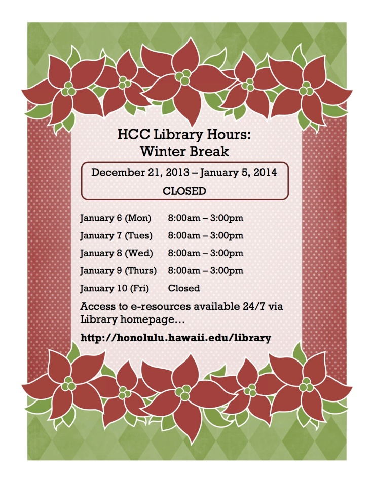 HolidayHours2013  Honolulu CC