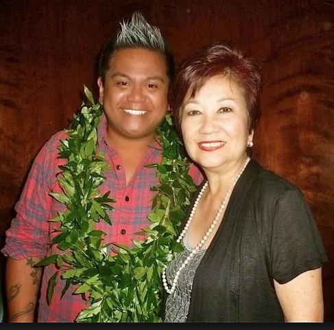 Kini with Ms. Joy from the Honolulu CC Fashion Tech Program.  PC: Nadine Kam