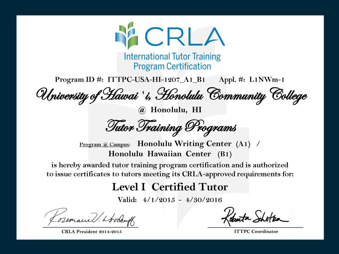 Honolulu Ccs Writing Center Receives Crla Certification The Water